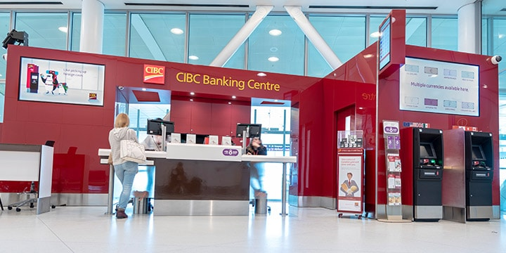 CIBC Banking Centre and two ATMs in terminal.