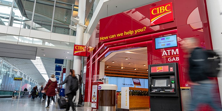 CIBC Banking Centre and ATM in terminal.