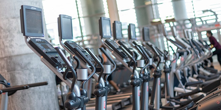 Row of elliptical machines.