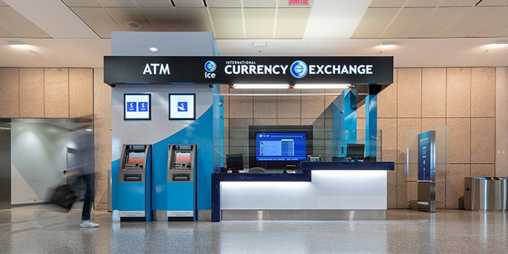 Currency Exchange counter and 2 ATMs.