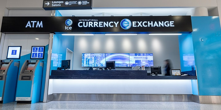 International Currency Exchange counter and ATM.